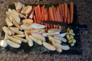 Carrots, apples and ginger